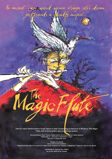 The Magic Flute poster. Bowen West Theatre, University of Bedfordshire, Polhill Road Campus, Bedford. 5th-8th September 2007.