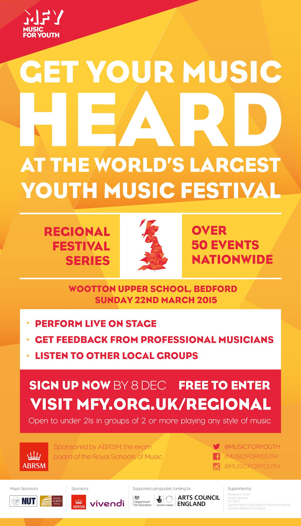 Music for Youth Flyer, Wootton Upper School